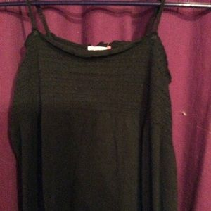 Ladies longer black tank top